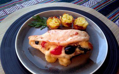 Pechugas de pollo al horno con flores de patata