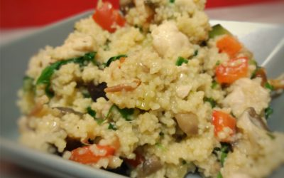 Couscous with Nutrave chicken thighs and flap mushrooms