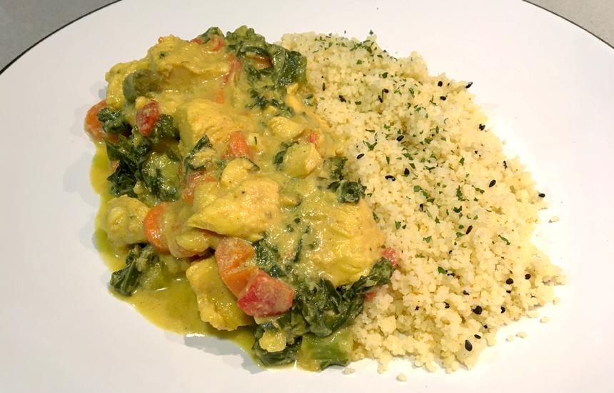 Pollo al curry con cuscús