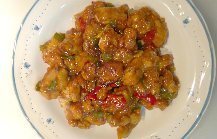Pollo con salsa agridulce