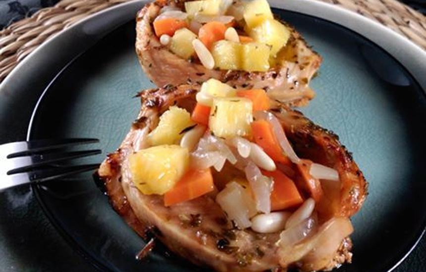 Barquitas de pollo Nutrave en escabeche de piña y miel