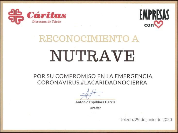 Cáritas da un reconocimiento a Nutrave por su labor social